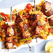 Chicken and lemongrass skewers with spiced rice