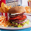 New York bacon burgers with Cajun wedges